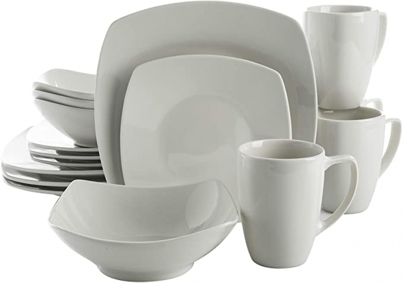 ihocon: Gibson Home Zen Buffet Coupe Dinnerware Set, Service for 4 (16pcs), White 四人份餐盤組