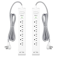 ihocon: mifaso 2 Pack Power Strip Surge Protector - 6 Outlets 2 USB Ports 5Ft Long Extension Cor… 電湧保護延長線