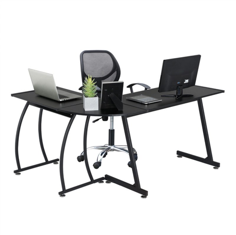 ihocon: SmileMart L-Shape Office Corner Computer Desk PC Laptop電腦桌