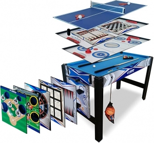 ihocon: Triumph 13-in-1 Combo Game Table Includes Basketball, Table Tennis, Billiards, Push Hockey, Launch Football, Baseball, Tic-Tac-Toe, and Skee Bean Bag Toss 勝利13合1 遊戲桌