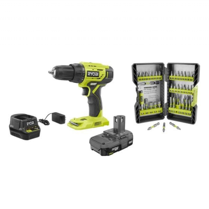 ihocon: RYOBI 18-Volt Cordless ONE+ 1/2 in. Drill/Driver Kit w/(1) 1.5 Ah Battery and Charger and Impact Rated Driving Kit (40-Piece) 無線電動工具及配件