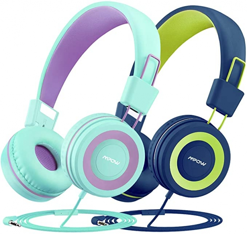 ihocon: Mpow CH8 Kids Headphones with Microphone (2-Pack) 兒童麥克風耳機(有線)