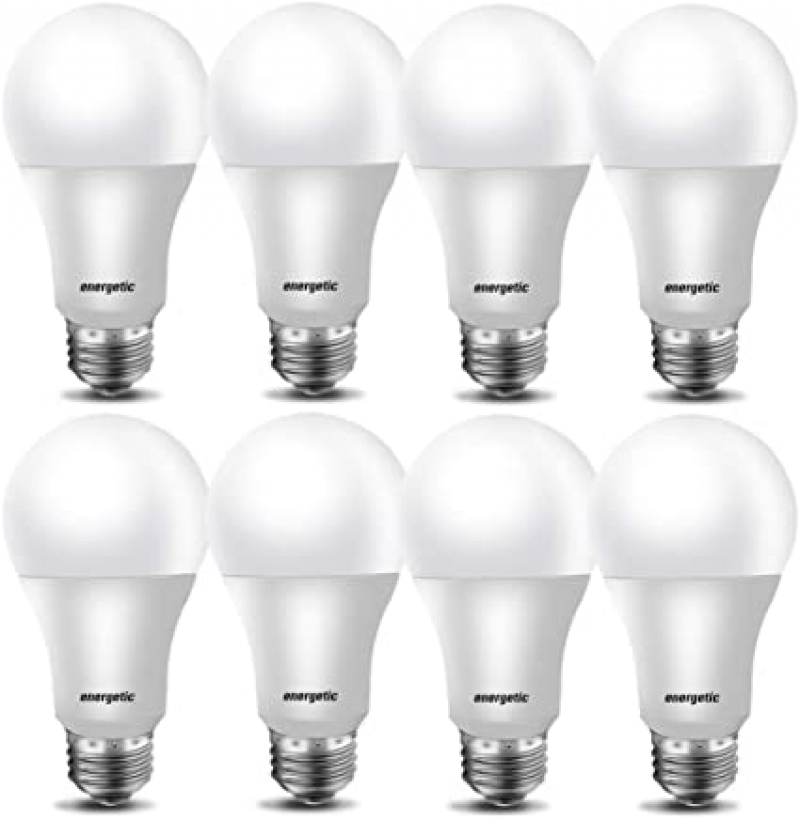 ihocon: Energetic Smarter Lighting 40W A19 Shape 5000K Equivalent Non-Dimmable LED Light Bulb, 8-Pack燈泡