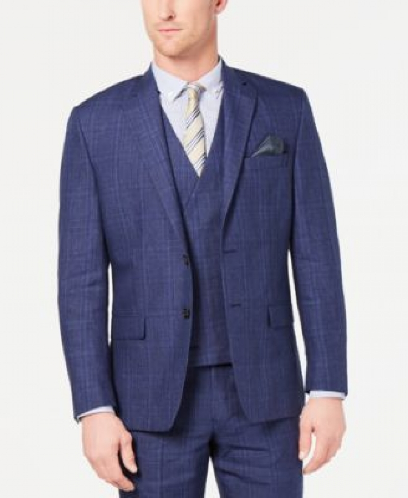ihocon: Lauren Ralph Lauren Men's Classic-Fit UltraFlex Stretch Blue Plaid Suit Jacket   男士西裝外套