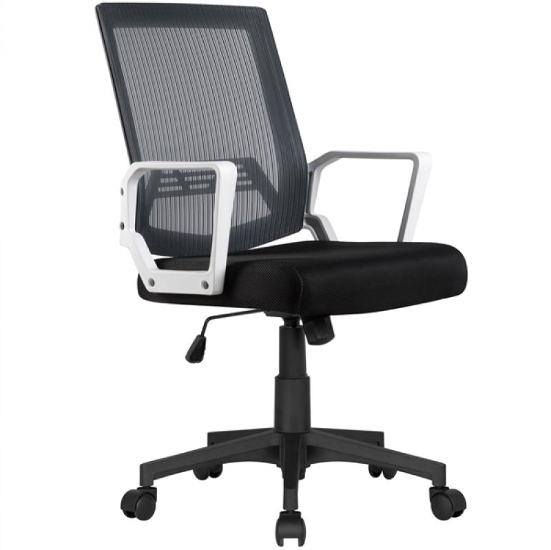 ihocon: Topeakmart Mesh Office Chair Adjustable Swivel Computer Chair w/ Lumbar Support Gray 辦公椅/電腦椅