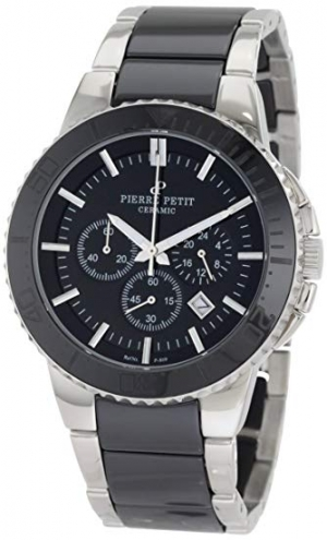ihocon: Pierre Petit Men's P-809A Serie Colmar Black Ceramic and Stainless-Steel Watch  陶瓷/不銹鋼男錶