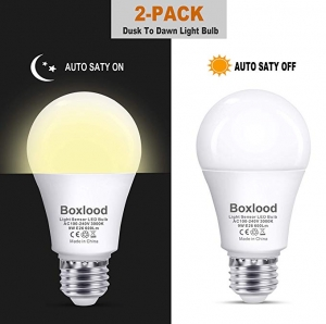 ihocon: Boxlood Dusk to Dawn A19 LED Light Bulb, Automatic On/Off, Built-in Light Sensor, 9-Watt (60-Watt Equivalent), 600-Lumen, E26 Base, 2-Pack 日夜感應自動開關燈泡