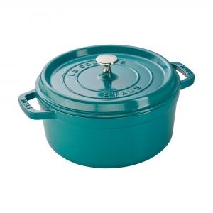 ihocon: Staub Cast Iron 4-qt Round Cocotte - Turquoise 鑄鐵鍋