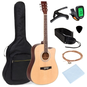ihocon: Best Choice Products 41吋 Full Size Beginner Acoustic Cutaway Guitar Set w/ Case, Capo, Tuner 吉他套裝(含琴袋, 變調夾, 調音器)
