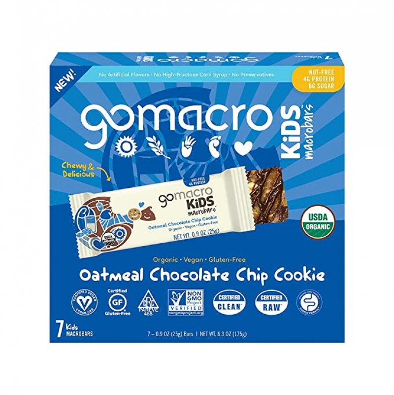 ihocon: GoMacro Kids MacroBar - Oatmeal Chocolate Chip Cookie (0.90 Ounce Bars, 7 Count)  有機兒童燕麥巧克力點心棒