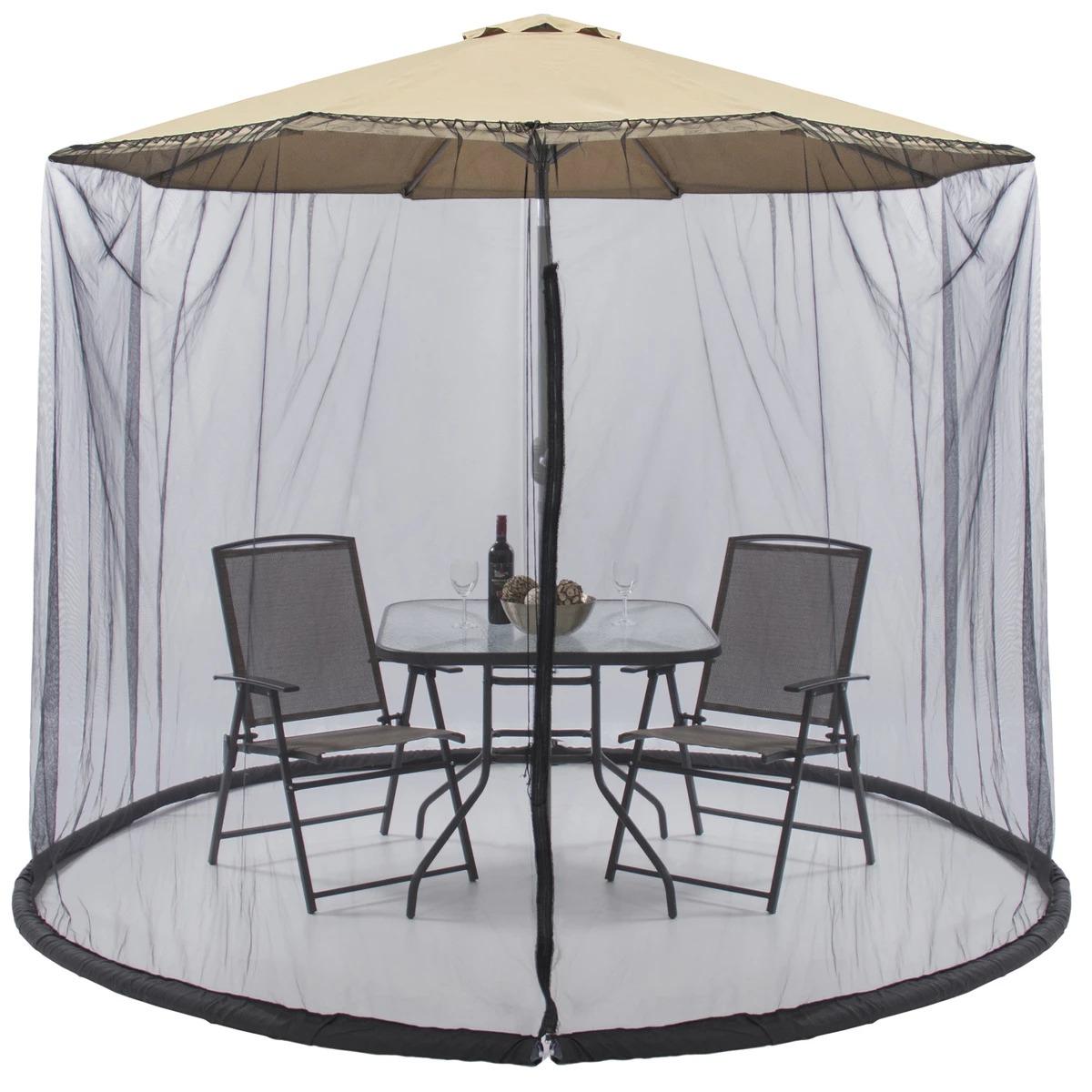 ihocon: Best Choice Products Bug Net Screen Accessory for 9ft Patio Umbrella w/ Zippered Door - Black 遮陽傘用防蚊/蟲紗帳
