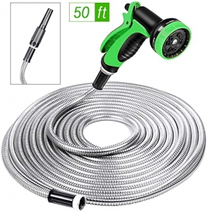 ihocon: SPECILITE Heavy Duty 304 Stainless Steel Garden Hose 50ft with 10 Pattern Spray Nozzle 不銹鋼花園澆花水管, 含噴水頭