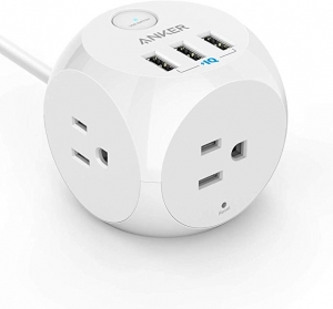 ihocon: Anker PowerPort Cube USB Power Strip with 3 Outlets and 3 USB Ports, Portable Design, 5 ft Extension Cord 延長線