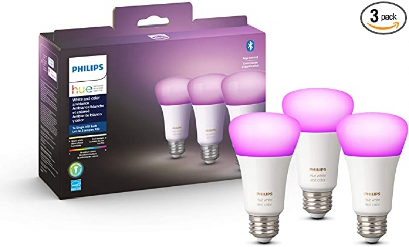 ihocon: Philips Hue White and Color Ambiance 3-Pack A19 LED Smart Bulb, Bluetooth & Zigbee Compatible (Hue Hub Optional), Works with Alexa & Google Assistant 飛利浦白色/彩色智能燈泡