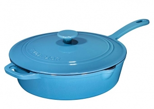 ihocon: Enameled Cast Iron Skillet Deep Sauté Pan with Lid, 12 Inch, Turquoise Blue, Superior Heat Retention 搪瓷鑄鐵含蓋煎鍋