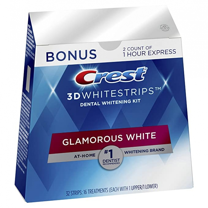ihocon: Crest 3D Whitestrips Glamorous White, Teeth Whitening Kit, 16 Treatments (32 Individual Strips) + 2 Bonus 牙齒美白貼片