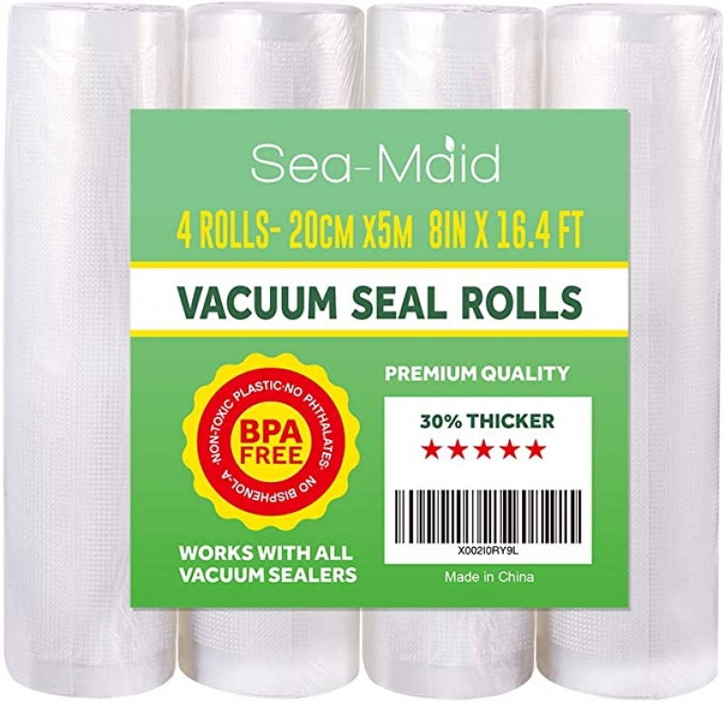 ihocon: Vacuum Sealer Bags Rolls 4 Pack8x16.4' Commercial Food saver Storage Rolls for Sous Vide Seal Bags BPA Free  真空機用密封袋