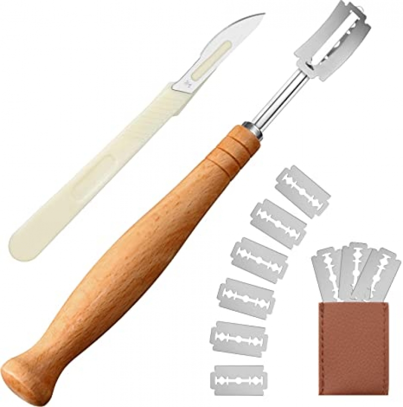 ihocon: Zhehao 13 Pieces Long Wooden Bread Lame and Bread Cutter Set 麵包裝飾切刀
