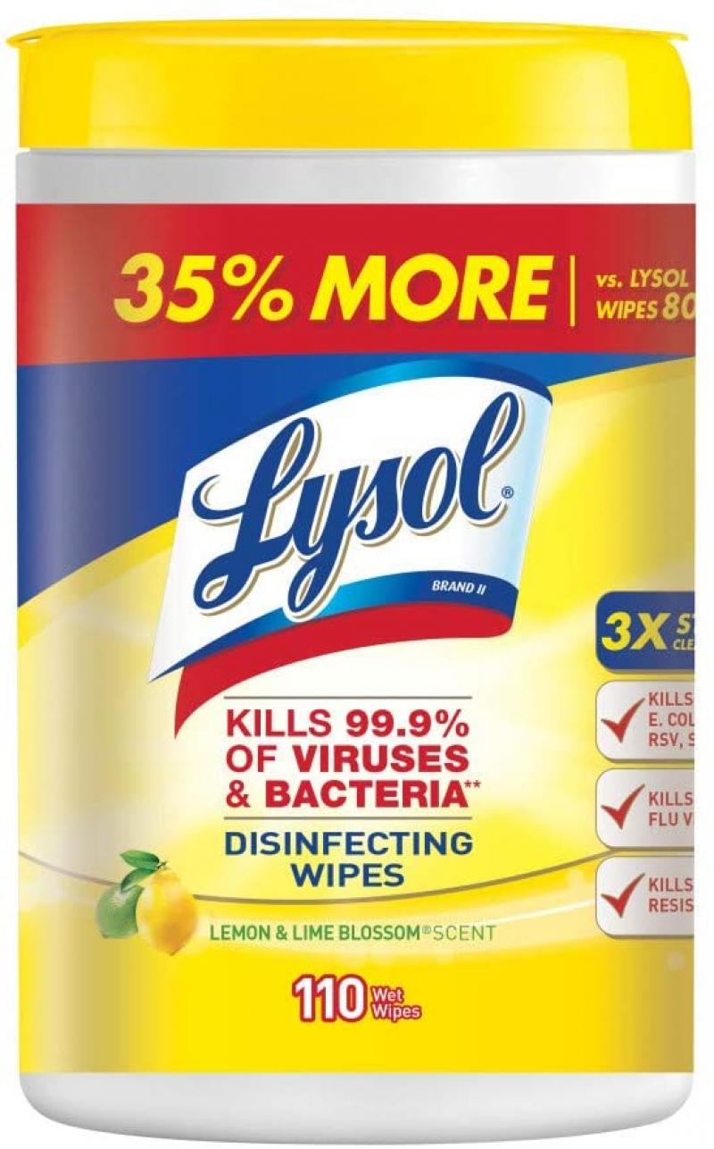 ihocon: Lysol Disinfecting Wipes, Lemon & Lime Blossom, 110ct 消毒濕巾