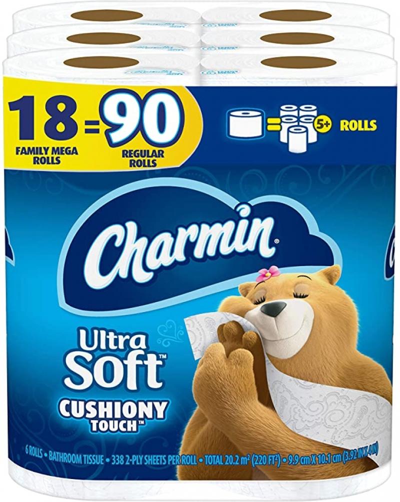 [18捲等於90捲的份量] Charmin 家庭裝超級大卷 廁所衛生紙 18捲 $20.04(原價$26.24)