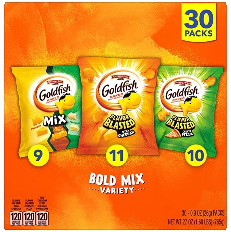 ihocon: Pepperidge Farm Goldfish Crackers, 30 Snack Packs 小魚餅乾