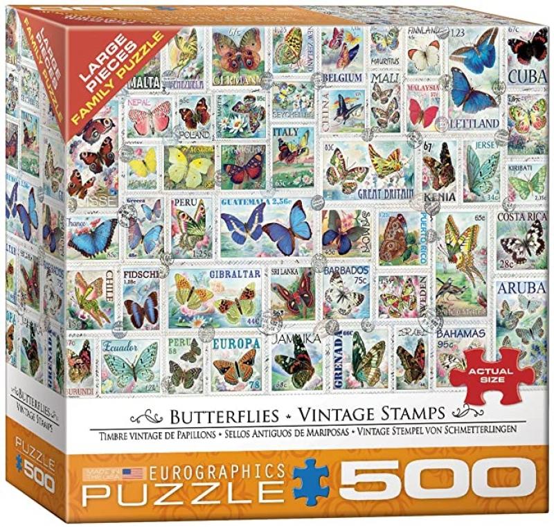 ihocon: EuroGraphics (EURHR Butterflies Vintage Stamps 500Piece Puzzle 500Piece Jigsaw Puzzle 500片拼圖(蝴蝶郵票)