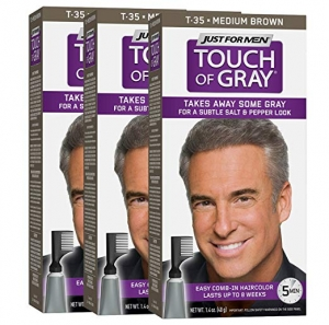 ihocon: Just For Men Touch Of Gray Comb-In Men's Hair Color, Medium Brown (Pack of 3) 男士染髮劑