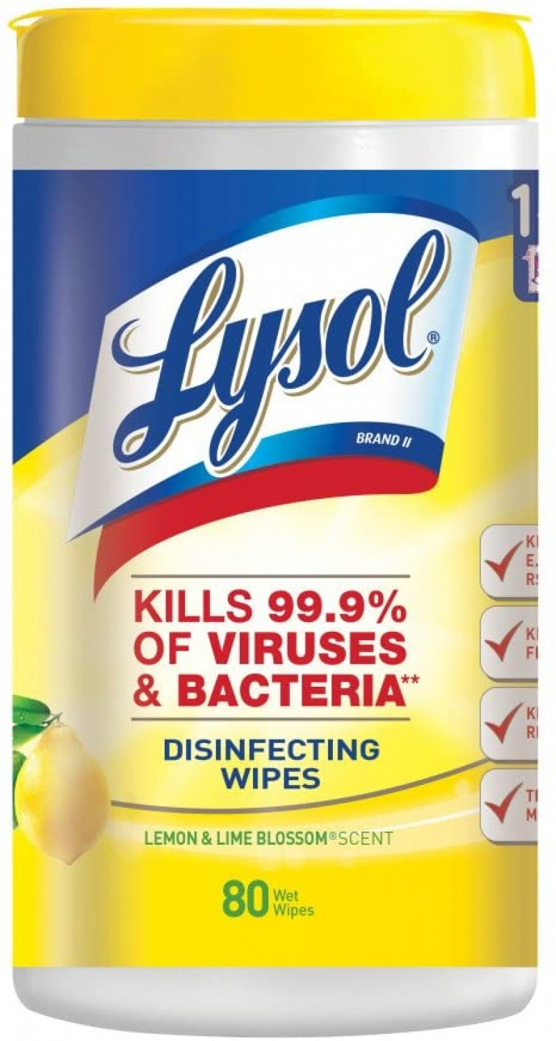ihocon: Lysol Disinfecting Wipes, Lemon & Lime Blossom, 80ct 消毒濕巾