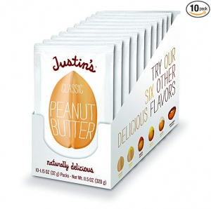 ihocon: Justin's Classic Peanut Butter Squeeze Packs, Only Two Ingredients, Gluten-free, Non-GMO, Responsibly Sourced, Pack of 10 (1.15oz each) 花生醬便攜包