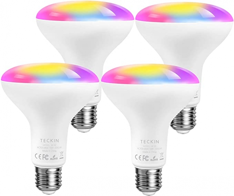 ihocon: TECKIN 2.4G Smart LED Light Bulb, 4 Pack 彩色智能燈泡
