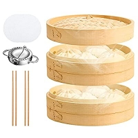 ihocon: UNAOIWN Bamboo Steamer Basket 10 Inch 雙層竹蒸籠 (送包水餃器, 筷子及矽膠蒸籠墊)