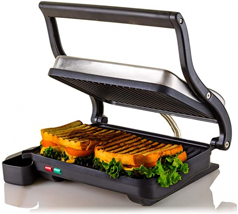 ihocon: Ovente Electric Indoor Panini Press Grill With Non-Stick Double Flat Cooking Plate & Removable Drip Tray 多功能燒烤/帕尼尼機