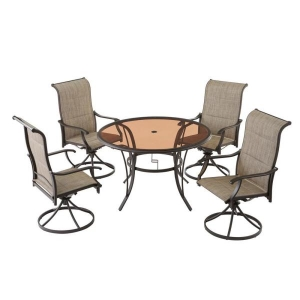 ihocon: Hampton Bay Riverbrook Espresso Brown 5-Piece Steel Outdoor Patio Padded Swivel Sling Round Glass Top Outdoor Dining Set 戶外桌椅組