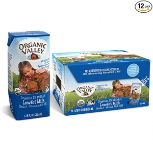 ihocon: Organic Valley, Milk Boxes, Shelf Stable 1% Milk, Healthy Snacks, 6.75oz (Pack of 12) 有機低脂保久奶