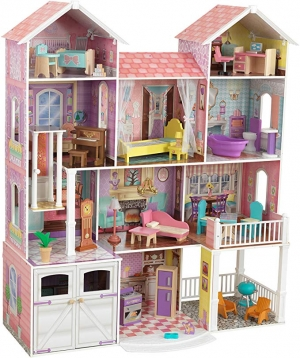 ihocon: KidKraft Country Estate Wooden Dollhouse for 12 Dolls with 31Piece Accessories   木製娃娃屋及配件