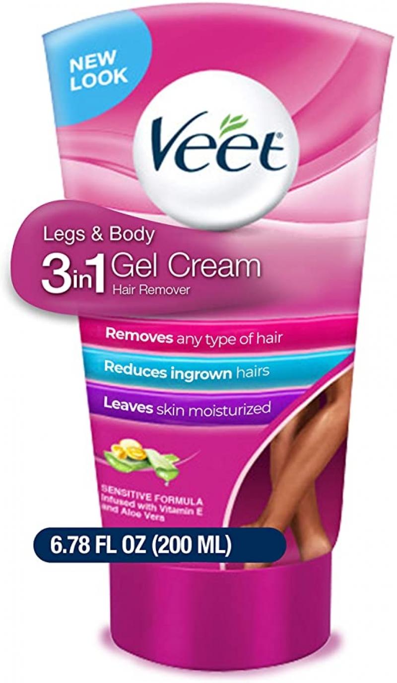 ihocon: VEET Legs & Body 3 in 1 Gel Cream Hair Remover, Sensitive Formula with Aloe Vera and Vitamin E, 6.78 fl ozTube 3合1脫毛霜