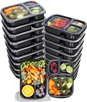ihocon: Utopia Kitchen 32 Oz. 3 Compartment Meal Prep Container Pack with Lid [20-Pack] 3格含蓋便當盒