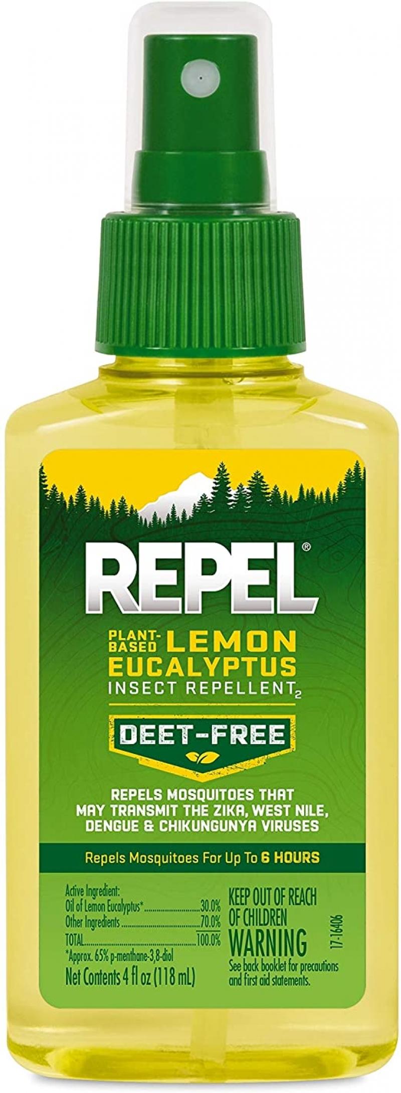 ihocon: REPEL Plant-Based Lemon Eucalyptus Insect Repellent, Pump Spray, 4-Ounce 天然驅蚊/蟲噴霧