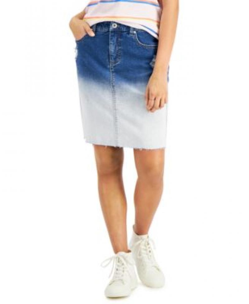 ihocon: Style & Co Petite Bleach-Dye Denim Skirt女士牛仔裙