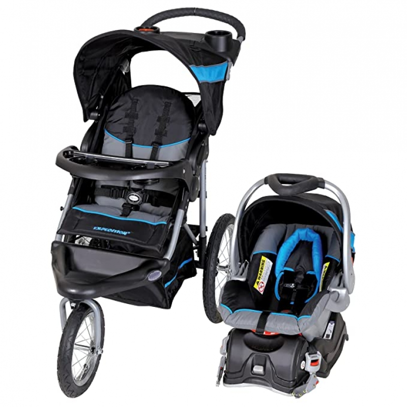 ihocon: Baby Trend Expedition Jogger Travel System, Millennium Blue 慢跑嬰兒推車+汽車座椅