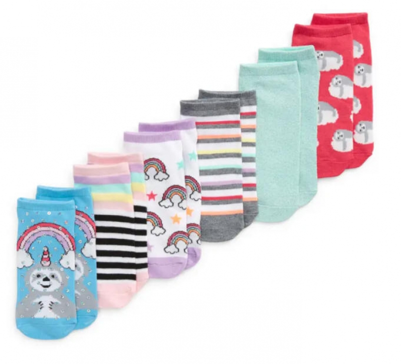 ihocon: CAPELLI NEW YORK Kids' Magical Sloth 6-Pack Assorted No-Show Socks   童襪6雙
