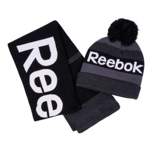 ihocon: Reebok Men's Pompom Beanie and Scarf Set 男士帽子+圍巾