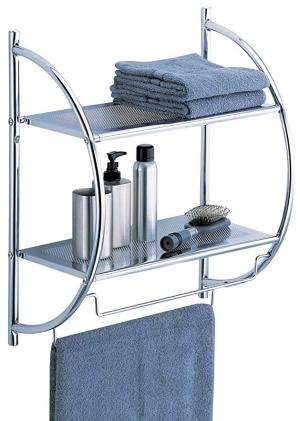 ihocon: Organize It All 1753W-B Wall Mount 2 Tier Chrome Bathroom Shelf with Towel Bars Metallic 壁掛式2層浴室毛巾/置物架