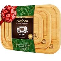 ihocon: ROYAL CRAFT WOOD Organic Bamboo Cutting Board with Juice Groove (3-Piece Set)有機竹菜板 3個