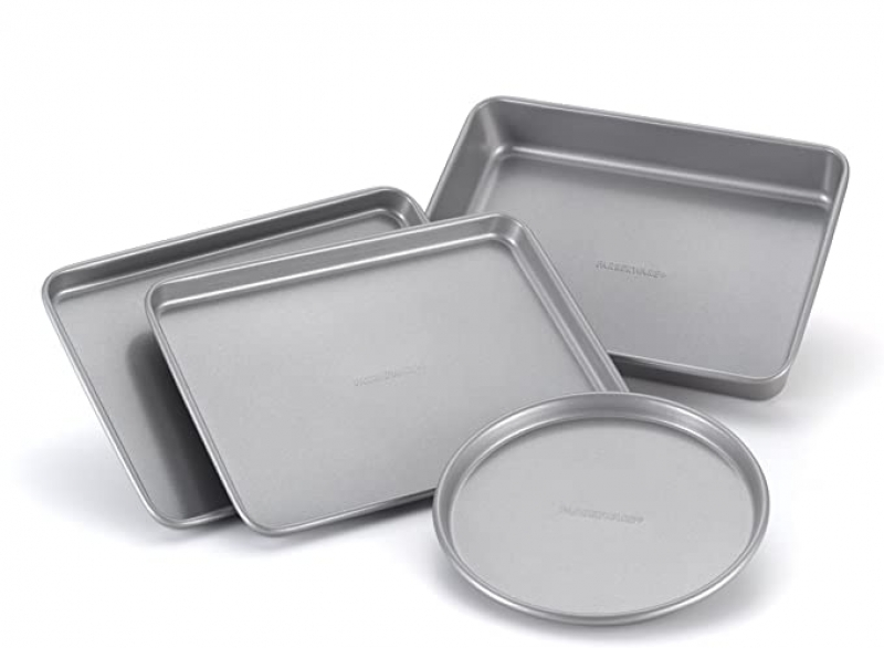 ihocon: Farberware Bakeware Steel Nonstick Toaster Oven Pan Set, 4-Piece Baking Set, Gray 不粘烤盤組