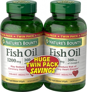 ihocon: Nature's Bounty Fish Oil 1200 mg Twin Packs, 180-Count per bottle 魚油