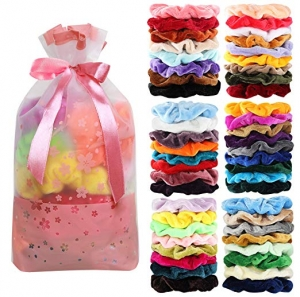 ihocon: 50 Pcs Velvet Hair Scrunchies Assorted Color絨布綁髮帶