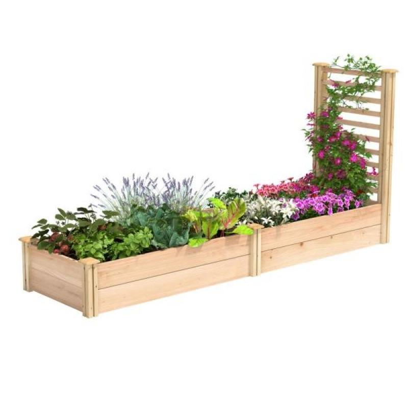ihocon: Miracle-Gro 96 in. L x 24 in. W x 11 in. H Cedar Raised Garden Bed with Trellis 植物種植床, 含攀爬架