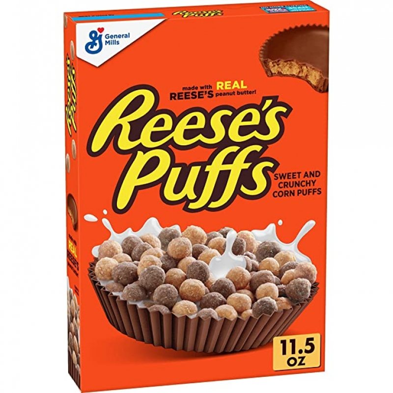 ihocon: Reese's Puffs Cereal, Chocolate Peanut Butter, with Whole Grain, 11.5 oz