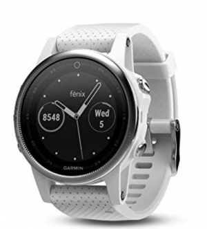 ihocon: Garmin 42mm Fenix 5S White Carrara Band GPS Running Smartwatch運動智慧錶